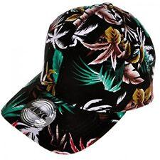 Women's New Baseball Cap Flower Floral Pattern Adjust Sport Outdoor Hat (Black)