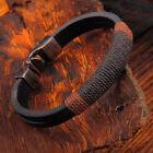 Women Men's Multilayer Leather Handmade Rope Wristband Anchor Bangle Bracelet