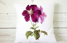 "Purple Clematis - 16"" cushion cover botanical shabby vintage chic - UK handmade"