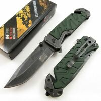 SPRING-ASSIST FOLDING POCKET KNIFE Mtech Green Stonewash Rescue Tactical EDC