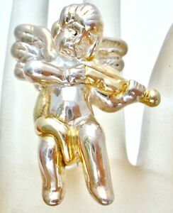 Sterling Silver Angel Brooch Playing the Violin Musical Vintage Electroform Pin