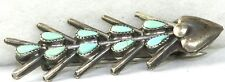 Fish Bones Bar Pin Small Vintage Sterling Silver Turquoise