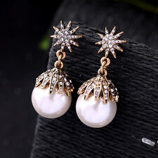 Cluster of Stars Gorgeous Drop Earrings Classic White Pearl Delicate Starry Gold