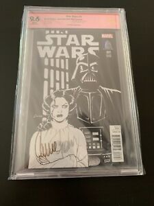 Carrie Fisher signed Star Wars #1 CBCS 9.6 Vault Collectibles B&W variant