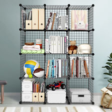 Wire Cube Storage Cabinet DIY 12 Cubes Display Shelves Bookcase Shelf Organiser