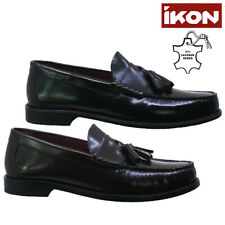 MENS IKON LEATHER SMART LOAFERS MOCCASIN TASSEL FORMAL OFFICE DRESS SHOES SIZE
