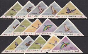 CROATIA BIRD TRIANGLES 15 MINT NH
