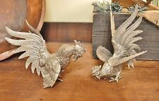 Nice Silverplate Fighting Roosters Scully & Scully N.Y. Desk, Table Office Italy