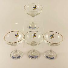 More details for set of 4 babysham glasses, 1970's, gold rim, prancing deer, babycham, (2)