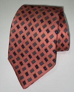 Kiton Napoli Mens 100% Silk Tie Pink Geometric Tie Made In Italy