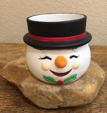 Vintage Porcelain Snowman Candy Dish Candle Holder