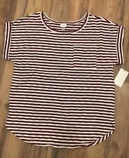 Womens Red Stripe Cuffed Tee Large A New Day (A•N•D E A W Y) NWT Cotton