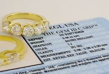 2.48 18K Gold 5 Five Stone Round Brilliant Cut Diamond Ring EGL-USA Rtl $9,312