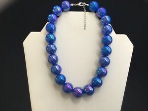 Women's Blue AB Chunky Bead Choker Necklace