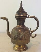 "VINTAGE SOLID BRASS 10"" TEAPOT HINGED LID HAND ETCHED ENGRAVED MADE INDIA"
