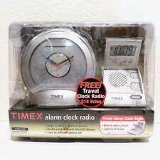 Vintage TIMEX Round Alarm Clock AM FM Radio & Flip Top Travel Portable Radio