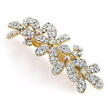 Cristal fleurs design gold tone barrette pince à cheveux diapositive grip pin bijou mariée