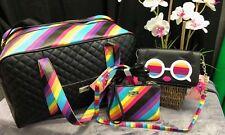 NEW! Betsey Johnson RAINBOW Weekender Luggage Travel Crossbody Wristlet 3 Pc SET