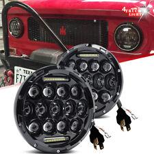 2X 7 Inch 75W Dual Beam LED Headlight DRL For International Scout II 1973-1980