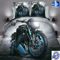 NEW 3D Photo Moto Bedding Set Duvet Cover Motorbike Sport with Pillowcase Boy