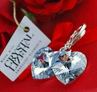 925 STERLING SILVER EARRINGS CRYSTALS FROM SWAROVSKI® HEART CRYSTAL CAL 18MM