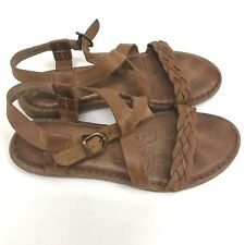 Born Womens Sandals Leather Strappy Comfort Flat Open Toe Size 9 US 40.5 EU
