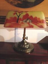 New listing Verdelite Desk Piano Lamp Reverse Painted Art Glass Shade Antique free shipping