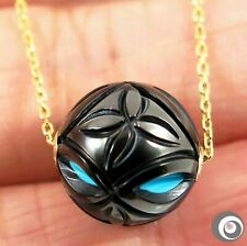 13.4mm Turquoise Tahitian Pearl Necklace, 18K Solid Gold+Sterling Silver #P5039