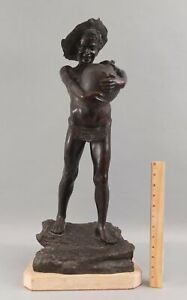 Antique VINCENZO CINQUE Italian Bronze Sculpture, Scugnizzo Street Urchin Boy