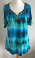 Olsen Size 16 Ladies Short Sleeve Blue & Green T Shirt Top With Sequin Detail