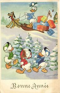 PC DISNEY, DONALD DUCK, HUEY, DEWEY AND LOUIE DUCK, Vintage Postcard (b27758)