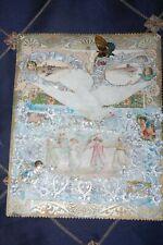 Rare Ornate Large Valentine With Dove & Cherubs Btb Francis Brundage Late 1800s