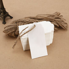 100 White Blank Kraft Paper Gift Tags Wedding Scallop Label Name Card w/ String