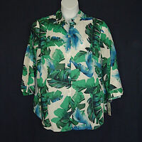 Allison Daley New Blue Green Tropical Print Cotton Top Womens Plus Size 22W 2X