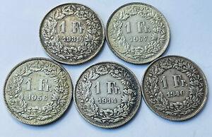 Swiss silver franks 1914, 39,40,56,57