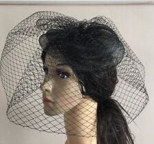 black fascinator french veiling veil hair clip wedding widow funural hat race