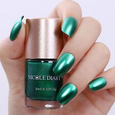 9ml Metallic Mirror Nail Polish Green Shiny Varnish Tools Decor DIY NICOLE DIARY