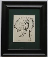 """Irving Amen """"Nude"""" Framed Original Ink Drawing on Paper Hand Signed"""