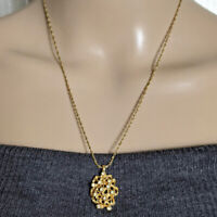 """Vintage Gold Tone Open Nugget Rhinestone Pendant Chain Necklace VTG Jewelry 20"""""""