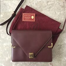 Authentic CARTIER Cartier Must De Vintage Bordeaux Shoulder Bag Dust bag Card