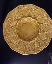 "Vintage Ceramic 19"" Yellow Gold Zodiac Ashtray Astrology Signs Gambles"