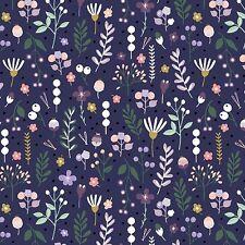 Tissu de Coton Fat Quarter MAKOWER-Forest Talk-Mountain Flora Violet