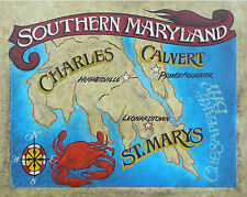 Southern Maryland Map Print  art decor print vintage  style chesapeake bay