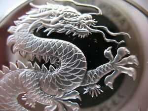 26 GRAMS .925 SILVER FRANKLIN MINT RARE PROOF CHINA DRAGON GOOD LUCK COIN+GOLD
