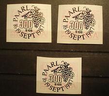 Südafrika/South Africa/RSA 1987: set FRAMA labels ATM, MN 4, PAARL, first day