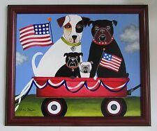 "Buffalo Billie Mason Santa Fe Americana Folk Art Painting ""Patriotic Pups"""