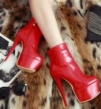 Stiletto High Heels Platform Casual Shoes Ankle Boot Patent Leather US11 Red