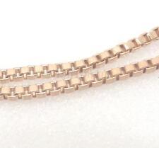 50cm Moda Chapado En Oro Rosa Brillante Collar Cadena Caja 1mm Fino