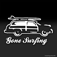 Woody Gone Surfing Summer Tropical Vacation Surfing Vinyl Decal Sticker
