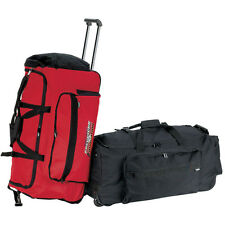"""red large 30"""" carry on travel rolling wheels duffel weekend overnight bag 9530"""